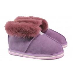 Български домашни пантофи от естествена агнешка кожа М 650 лилав | Дамски чехли и пантофи | MES.BG