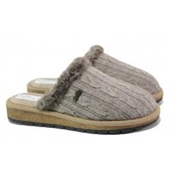 Анатомични български чехли от естествена вълна Jolie LIRA7 сив | Дамски домашни чехли | MES.BG