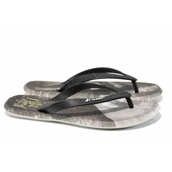 Анатомични мъжки чехли между пръстите Rider 10719 сив-черен | Бразилски чехли | MES.BG