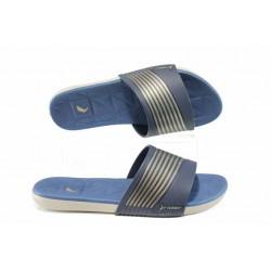 Анатомични дамски чехли с мемори пяна Rider 82207 бежов-син | Бразилски чехли и сандали | MES.BG