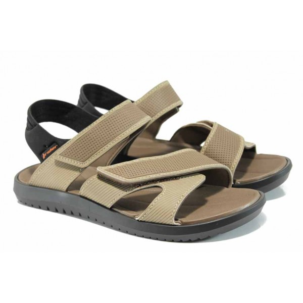 Анатомични мъжки сандали с мемори пяна Rider 82224 черен-бежов | Бразилски чехли и сандали | MES.BG