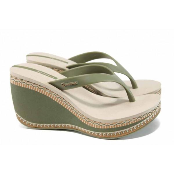 Дамски чехли на платформа Ipanema 82286 бежов-зелен | Бразилски чехли | MES.BG