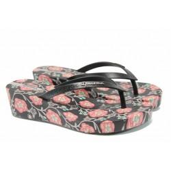 Анатомични дамски чехли Ipanema 82284 черен-розов | Бразилски чехли | MES.BG