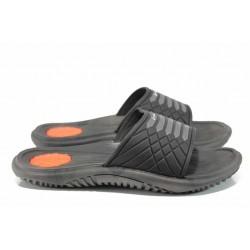 Анатомични мъжки чехли с цяла лента Rider 82327 черен-оранжев | Бразилски чехли | MES.BG