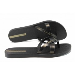 Равни дамски чехли Ipanema 81805 черен-злато | Бразилски чехли и сандали | MES.BG