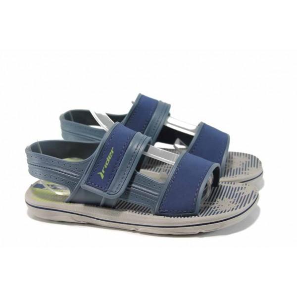Анатомични детски сандали с лепенки Rider 82196 сив-син 27/38 | Бразилски чехли и сандали | MES.BG