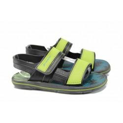 Анатомични детски сандали с лепенки Ipanema 82196 черен-зелен 27/38 | Бразилски чехли и сандали | MES.BG