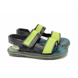 Анатомични детски сандали с лепенки Rider 82196 черен-зелен 27/38 | Бразилски чехли и сандали | MES.BG