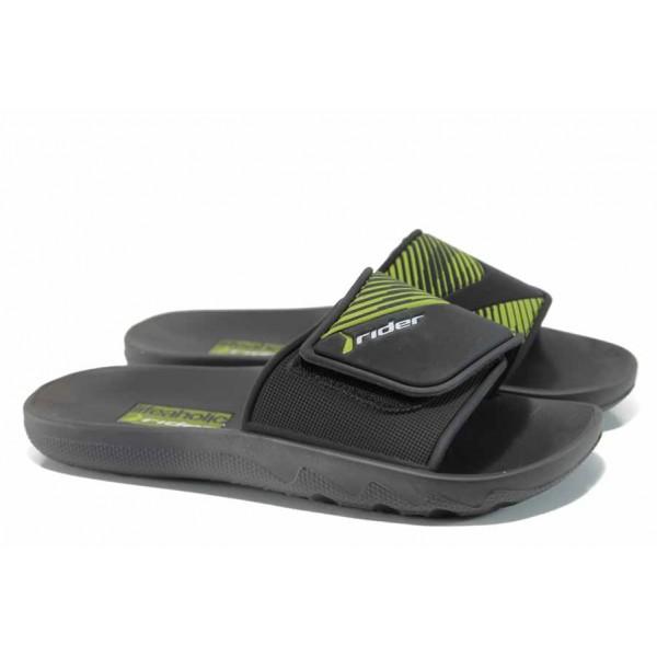 Анатомични мъжки чехли с велкро лепенка Rider 82326 черен-зелен | Бразилски чехли | MES.BG