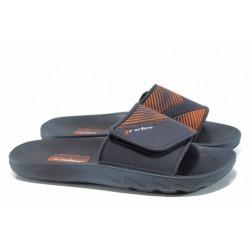 Анатомични мъжки чехли с велкро лепенка Rider 82326 син-оранжев | Бразилски чехли | MES.BG