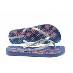 Равни дамски чехли Ipanema 82248 син-сребро | Бразилски чехли | MES.BG