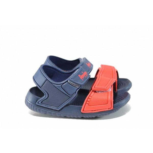 Детски сандали с лепенки АБ 6631 син-червен 30/35 | Детски гумени сандали | MES.BG