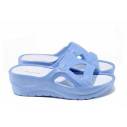 Дамски чехли на платформа АБ 141027-2 син | Дамски гумени чехли | MES.BG