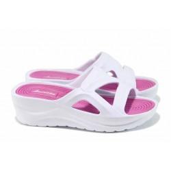 Дамски чехли на платформа АБ 141027-2 бял | Дамски гумени чехли | MES.BG