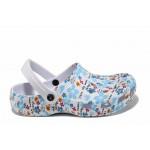 Дамски чехли-сандали тип крокс АБ 160628 бял-син | Дамски гумени чехли | MES.BG