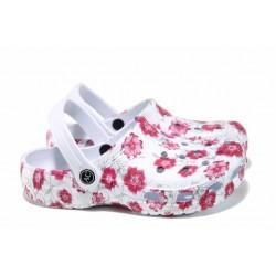 Дамски чехли-сандали тип крокс АБ 160628 бял-червен | Дамски гумени чехли | MES.BG