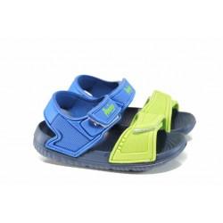 Детски сандали с лепенки АБ 6631 син-зелен 24/29 | Детски гумени сандали | MES.BG