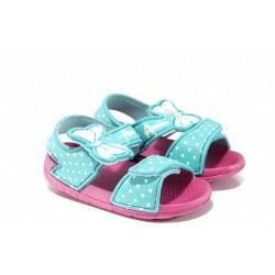 Детски сандали с лепенки АБ 6631 зелен-розов 24/29 | Детски гумени сандали | MES.BG