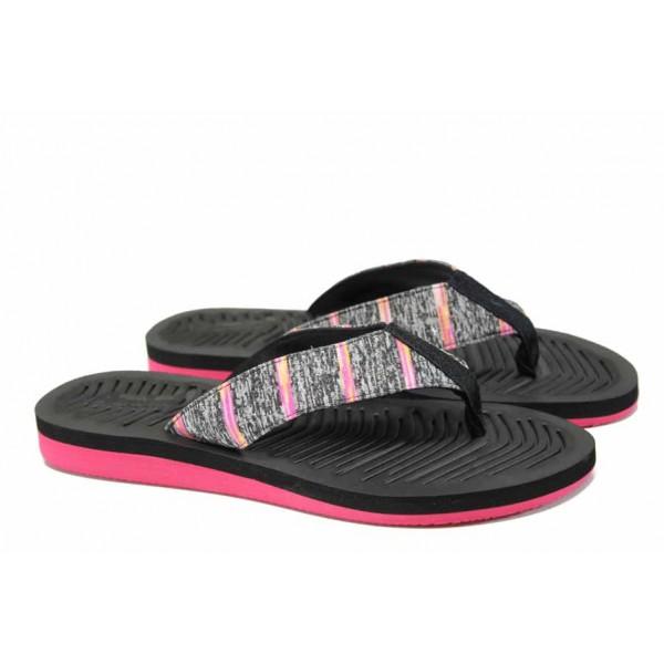 Дамски джапанки с лента между пръстите АБ 707019 черен | Дамски гумени чехли | MES.BG
