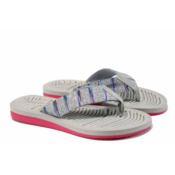 Дамски джапанки с лента между пръстите АБ 707019 сив | Дамски гумени чехли | MES.BG