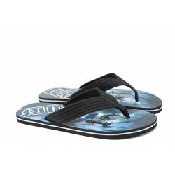 Мъжки джапанки с лента между пръстите АБ 716001 черен | Мъжки джапанки и чехли | MES.BG