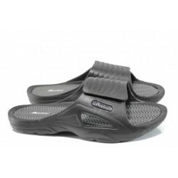 Мъжки джапанки с велкро закопчаване АБ 8396 черен | Мъжки гумени чехли | MES.BG