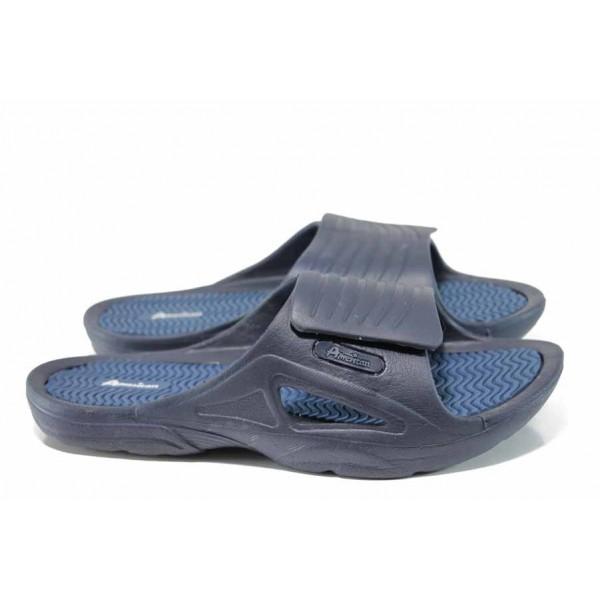 Мъжки джапанки с велкро закопчаване АБ 8396 син | Мъжки гумени чехли | MES.BG