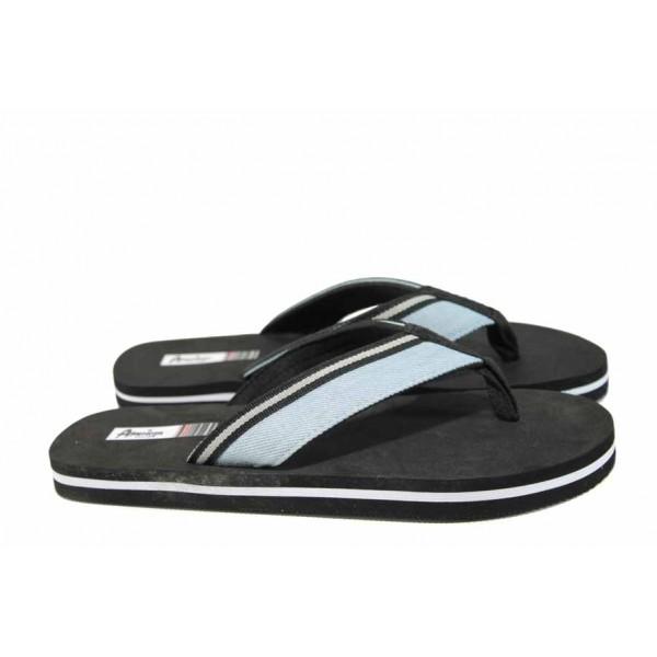 Юношески джапанки с лента между пръстите АБ 1608093 т.син | Дамски гумени чехли | MES.BG