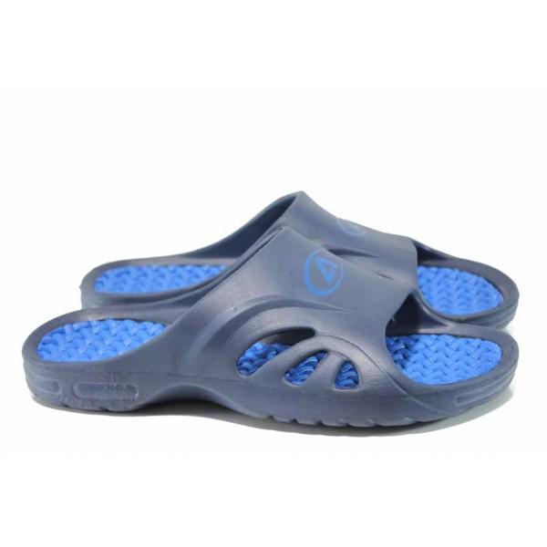 Анатомични мъжки джапанки с цяла лента АБ 8503 син | Мъжки гумени чехли | MES.BG