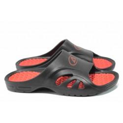 Анатомични мъжки джапанки с цяла лента АБ 8503 черен-червен | Мъжки гумени чехли | MES.BG