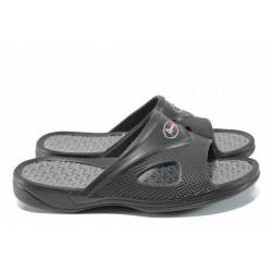 Мъжки джапанки с комфортно ходило АБ 17606 черен | Мъжки гумени чехли | MES.BG