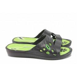 Дамски джапанки с олекотено ходило РС 181-15608 зелен-черен | Дамски джапанки и чехли | MES.BG
