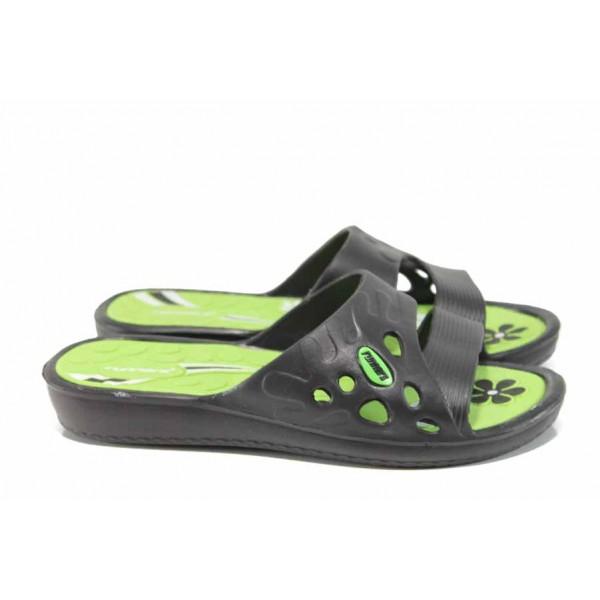 Дамски джапанки с олекотено ходило Runners 181-15608 зелен-черен | Дамски джапанки и чехли | MES.BG
