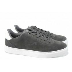 Мъжки спортни обувки от естествен набук АБ 17003 сив | Мъжки ежедневни обувки | MES.BG