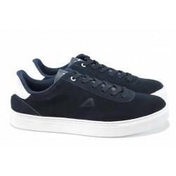 Мъжки спортни обувки от естествен набук АБ 17003 т.син | Мъжки ежедневни обувки | MES.BG