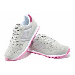 Детски маратонки от естествен велур с еластично ходило АБ 6506 сив-розов 32/36 | Детски маратонки | MES.BG