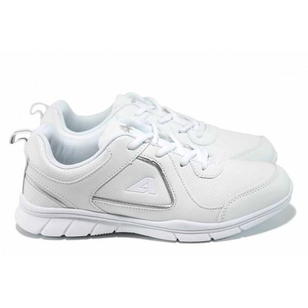 Дамски маратонки с връзки АБ 17001 бял | Дамски маратонки и платненки | MES.BG