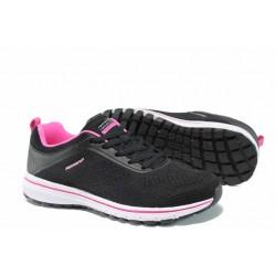 Дамски летни маратонки на еластично ходило Runners 181-2495 черен-циклама | Дамски маратонки | MES.BG