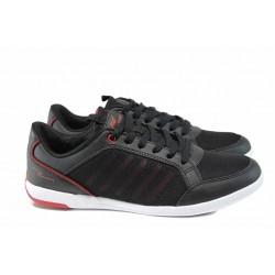 Мъжки летни маратонки на еластично ходило РС 181-365368 черен-червен | Мъжки маратонки | MES.BG