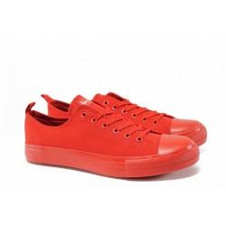 Юношески платненки с връзки АБ 18 червен | Дамски маратонки и платненки | MES.BG