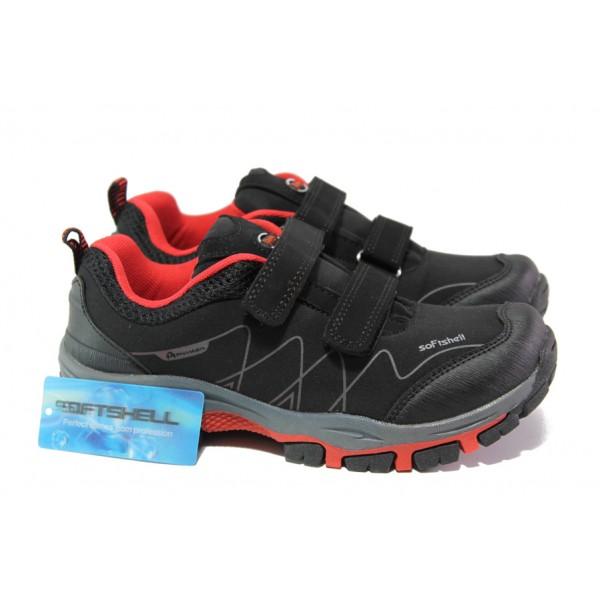 Детски водоустойчиви маратонки с лепенки АБ 1803 черен-червен   Детски маратонки   MES.BG