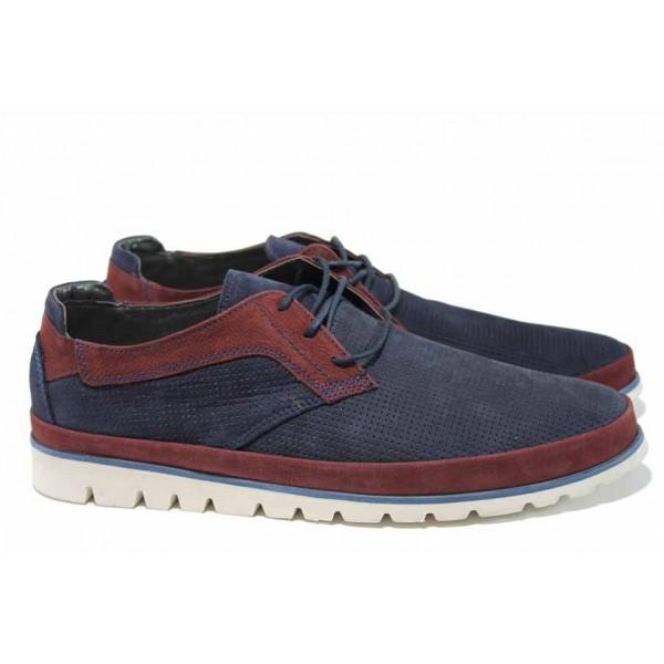 Анатомични мъжки обувки от естествен набук МИ А2 син-бордо | Мъжки ежедневни обувки | MES.BG