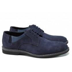 Мъжки обувки от естествен набук ФЯ 12001 син | Мъжки ежедневни обувки | MES.BG