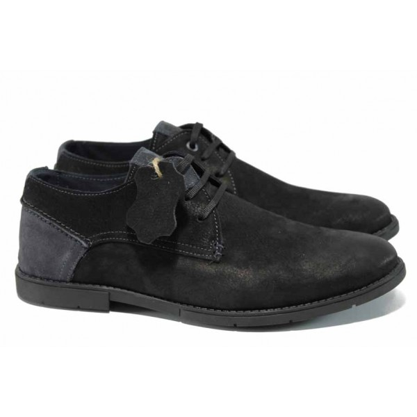Анатомични български обувки от естествен набук МЙ 83338 черен | Мъжки ежедневни обувки | MES.BG