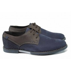 Анатомични български обувки от естествен набук МЙ 83331 син | Мъжки ежедневни обувки | MES.BG