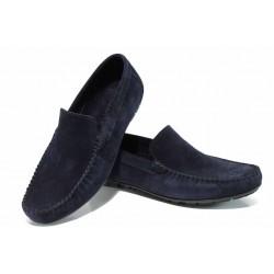 Анатомични мъжки мокасини от естествен набук МИ 1-2 т.син | Мъжки ежедневни обувки | MES.BG