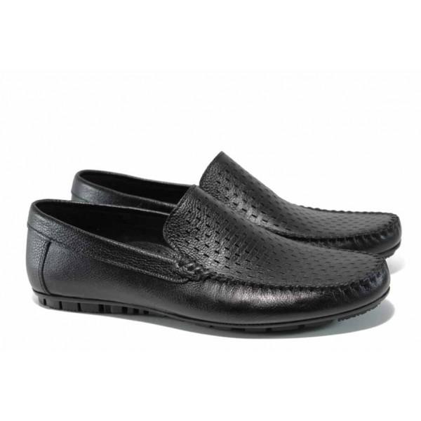 Анатомични мъжки мокасини от естествена кожа МИ 1-3 черен кожа | Мъжки ежедневни обувки | MES.BG
