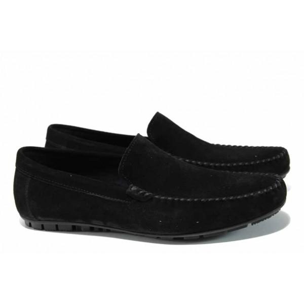 Анатомични мъжки мокасини от естествен набук МИ 1-1 черен | Мъжки ежедневни обувки | MES.BG