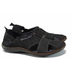 Български ортопедични сандали от естествен набук МЙ 71189 черен | Мъжки сандали | MES.BG