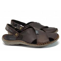 Български ортопедични чехли-сандали от естествена кожа МЙ 71173 кафяв | Мъжки чехли и сандали | MES.BG